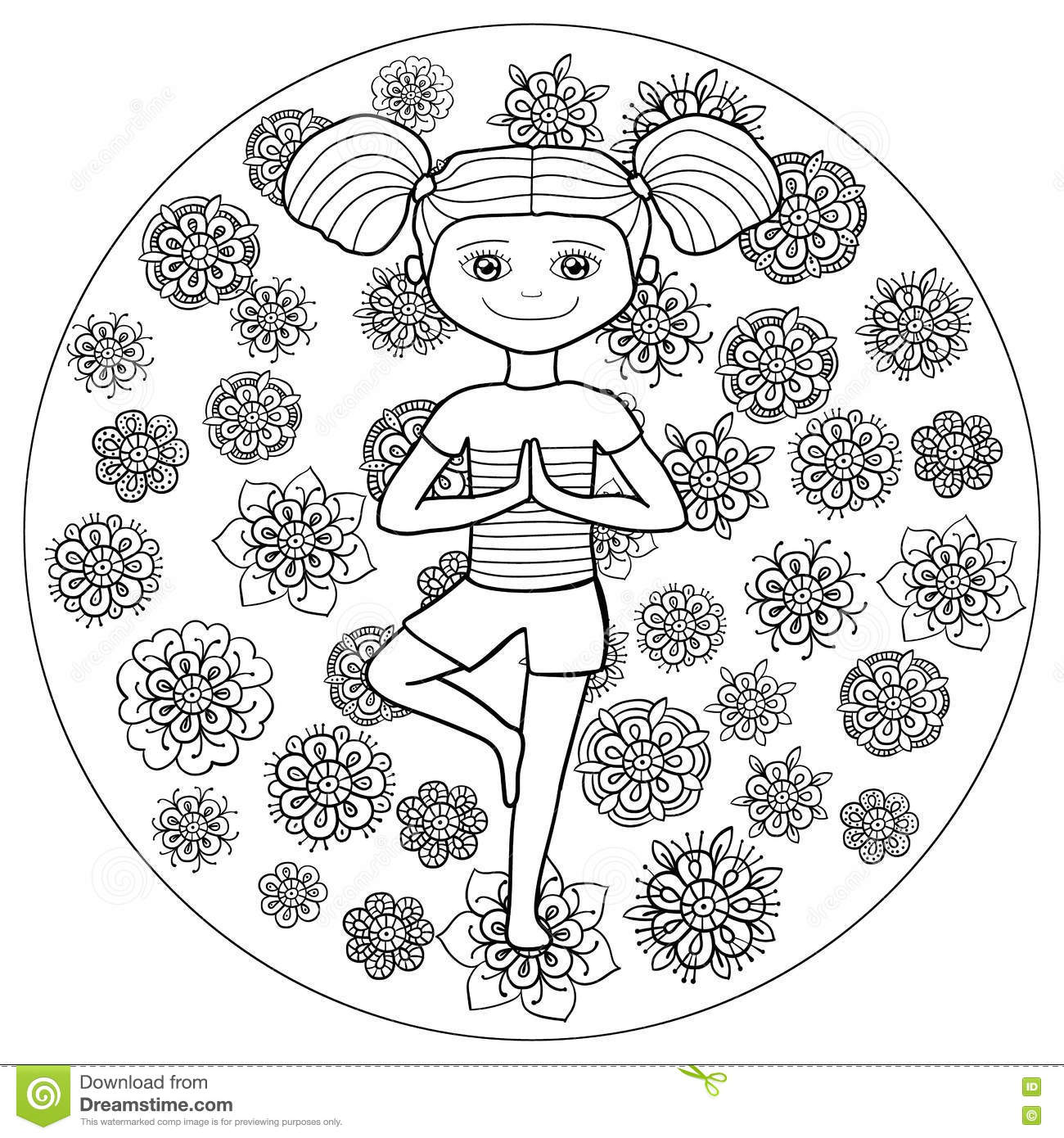 Adult Coloring Page Young Girl In Tree Yoga Pose Stock