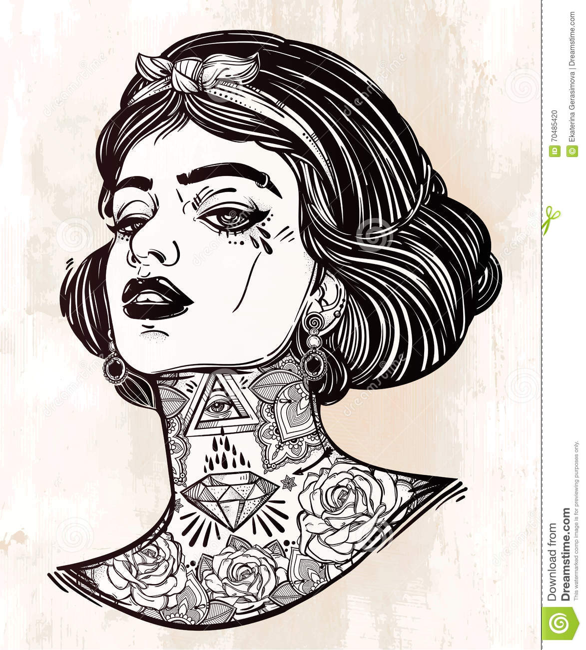 Adult Coloring Vector Of Young Tattooed Girl Stock Vector