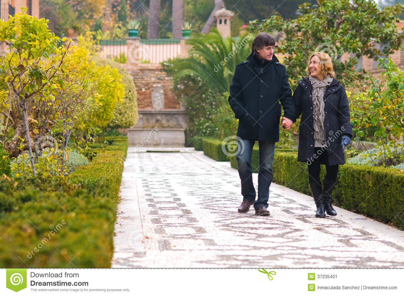 Adult couple in love walking