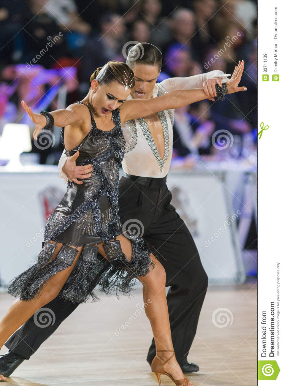 Adult Dance Couple Performs Youth Latin-American Program On The WDSF Baltic Grand Prix-2106 Championship Editorial Stock Image