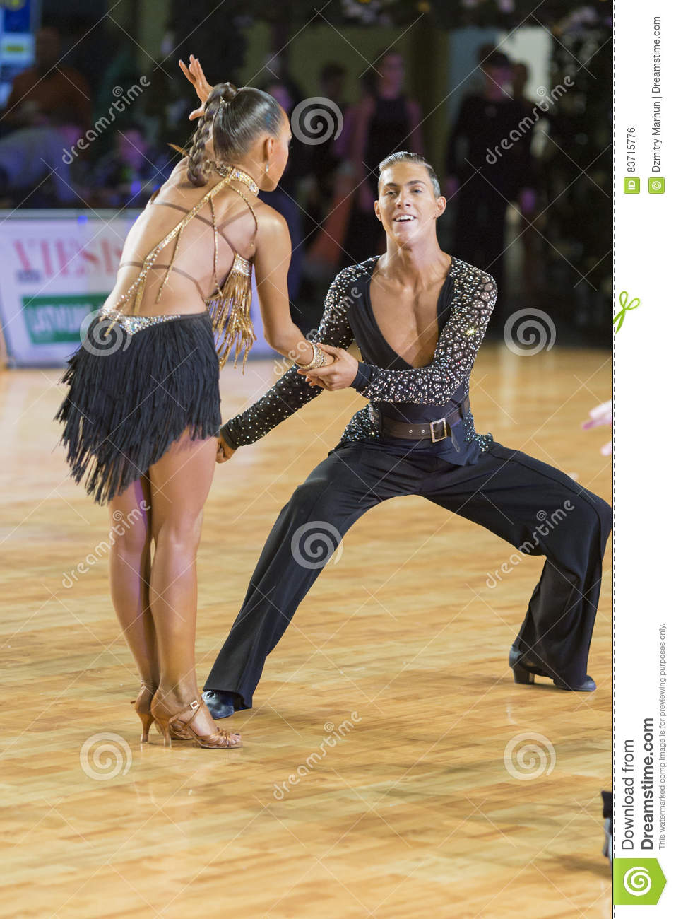 Adult Dance Couple Performs Youth Latin-American Program On The WDSF Baltic Grand Prix-2106 Championship Editorial Photo
