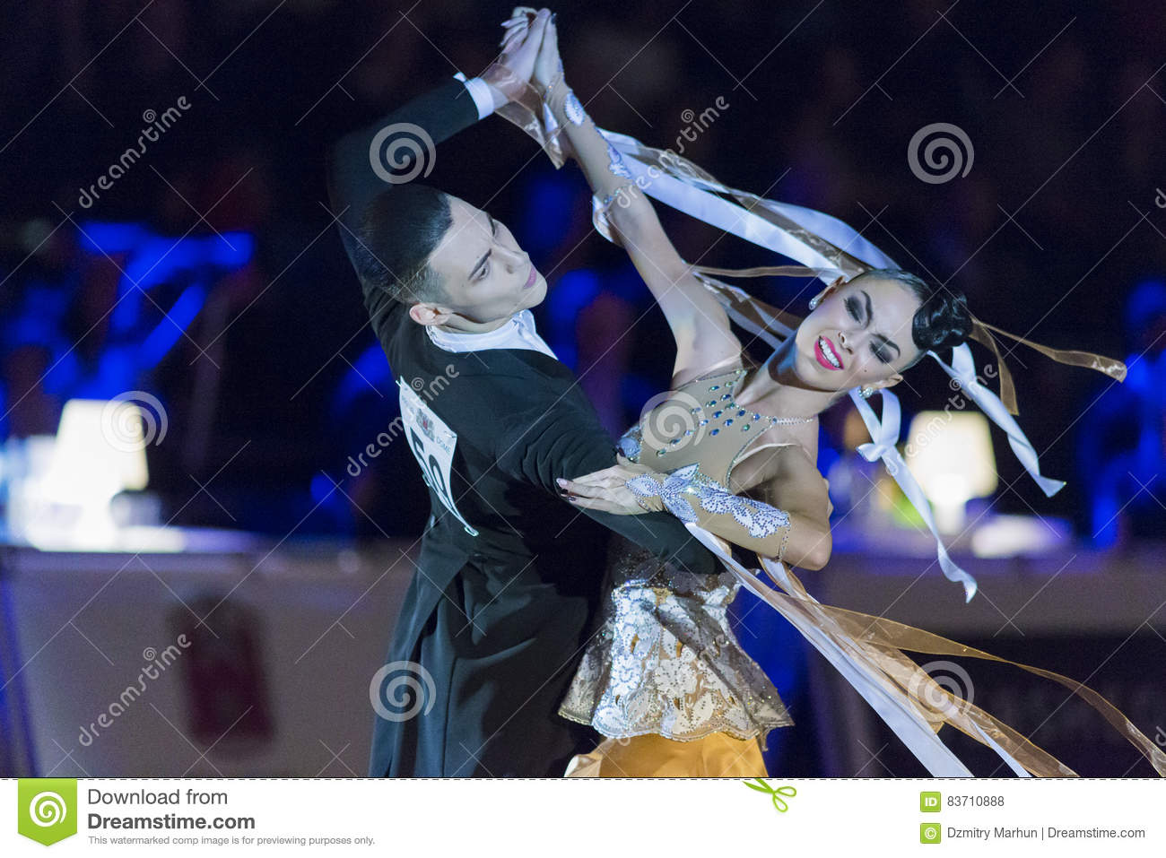 Adult Dance Couple Performs Youth Standard European Program On The WDSF Baltic Grand Prix-2106 Championship Editorial Stock Photo