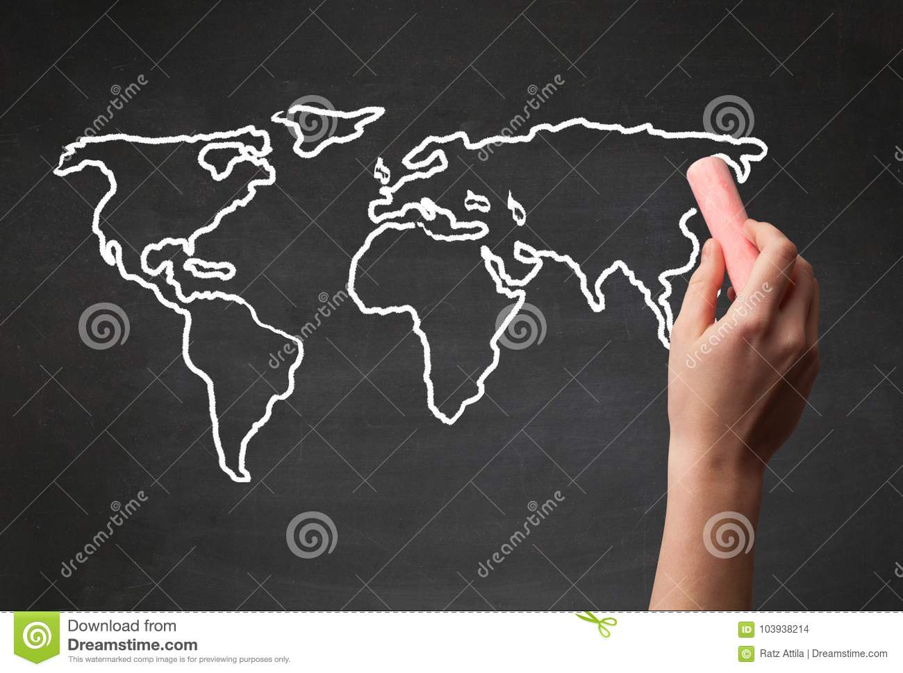 Adult drawing world map on chalkboard stock photo image of download adult drawing world map on chalkboard stock photo image of illustration europe gumiabroncs Image collections