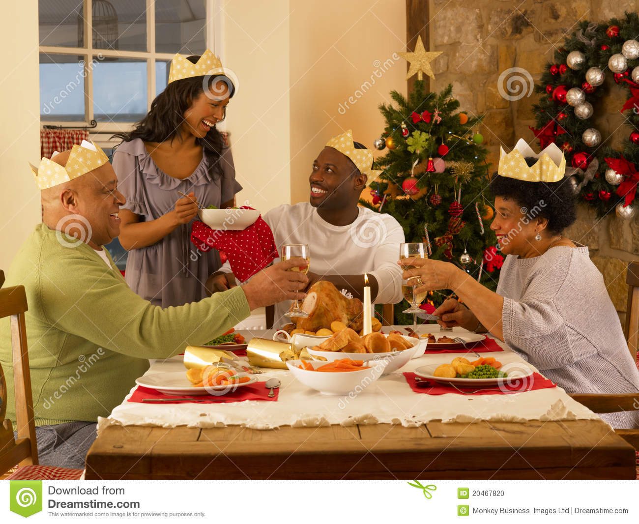 Adult family having Christmas dinner