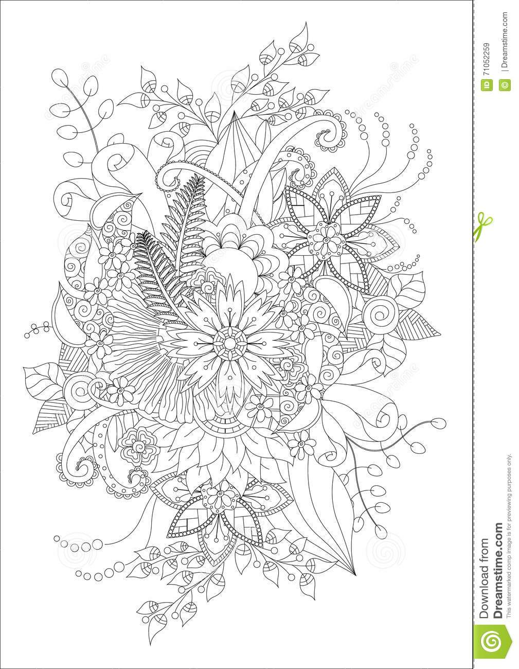 Adult Flowers Coloring Stock Vector Image 71052259