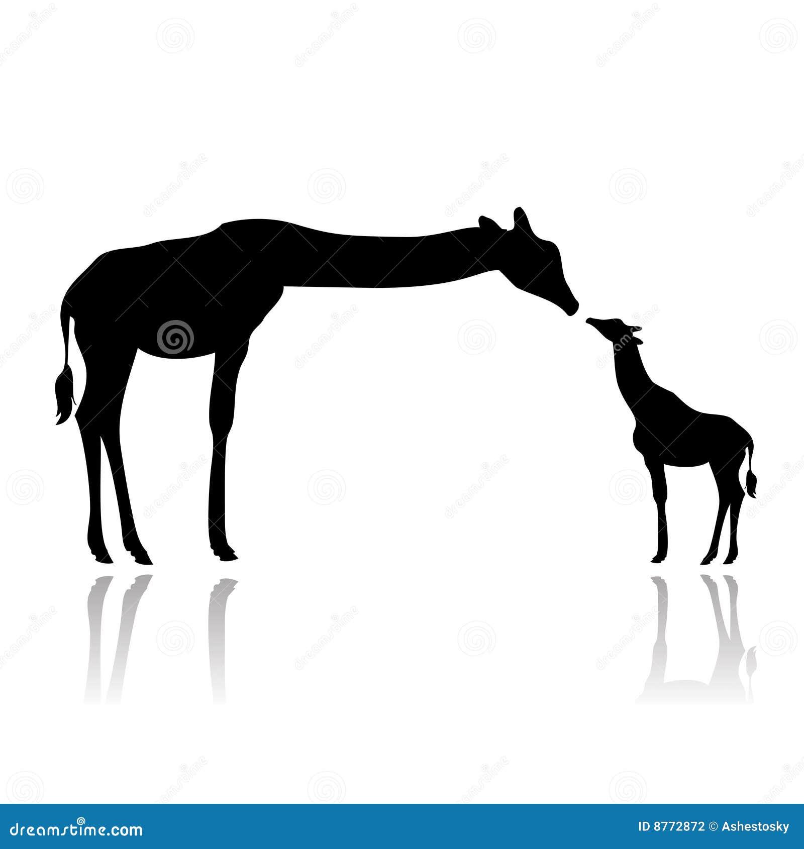 Vector illustration as silhouette of giraffe female feeding her cub.