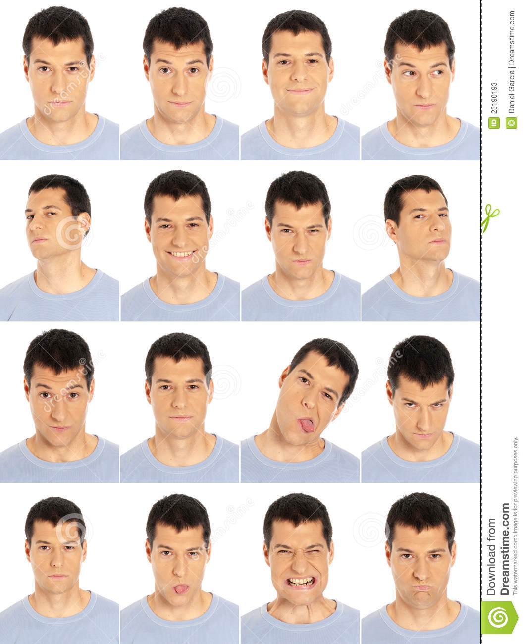 Adult man face expressions composite isolated on w
