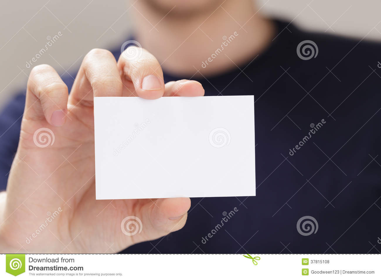 Adult Man Hand Holding Empty Business Card In Front Of Camera ...
