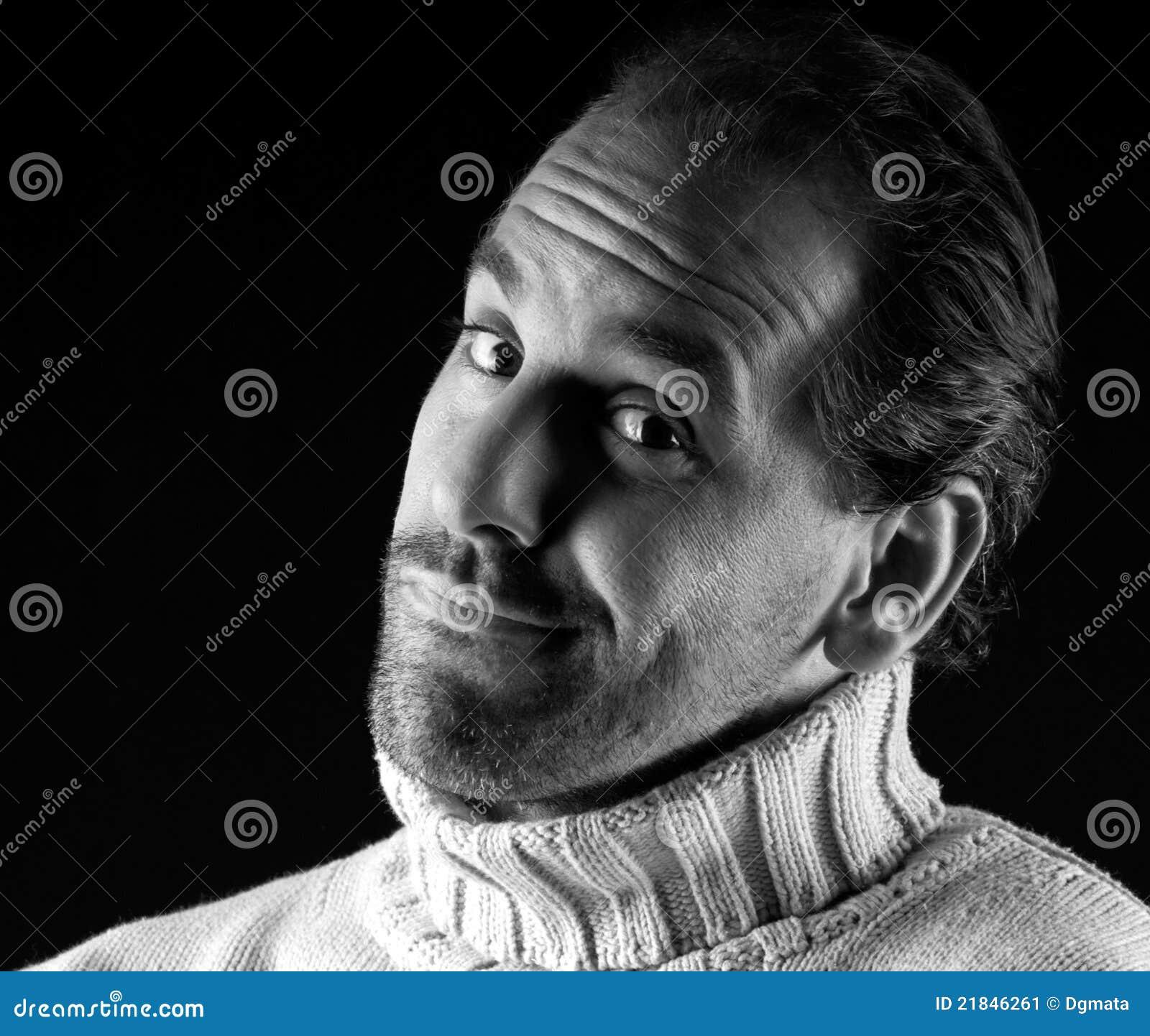 Adult man portrait cheerful expression black white