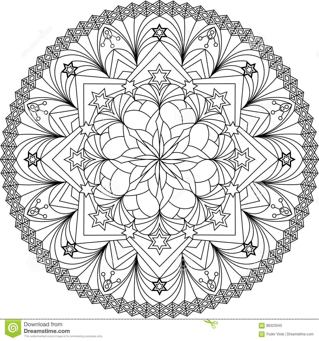 Adult Mandala Coloring Page Stock Vector Illustration Of