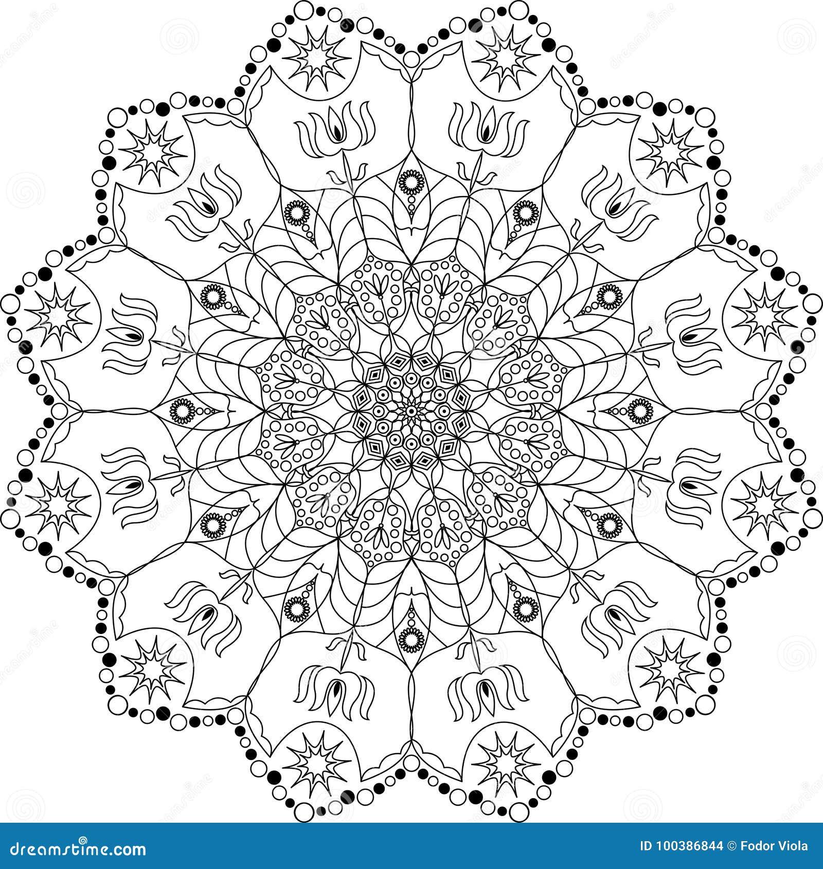 Beautiful Mandala Coloring Page Stock Vector Illustration Of