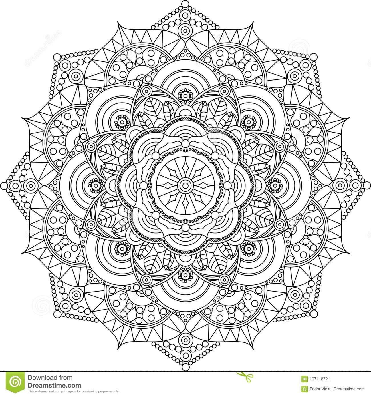 Adult Mandala Coloring Page Relax And Art Stock Vector