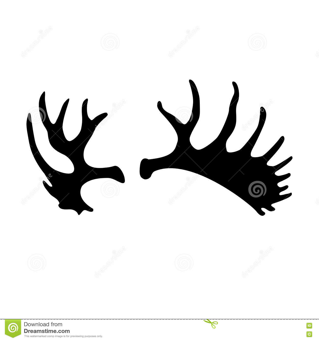Adult Moose Antlers Black Silhouette Vector Stock Vector