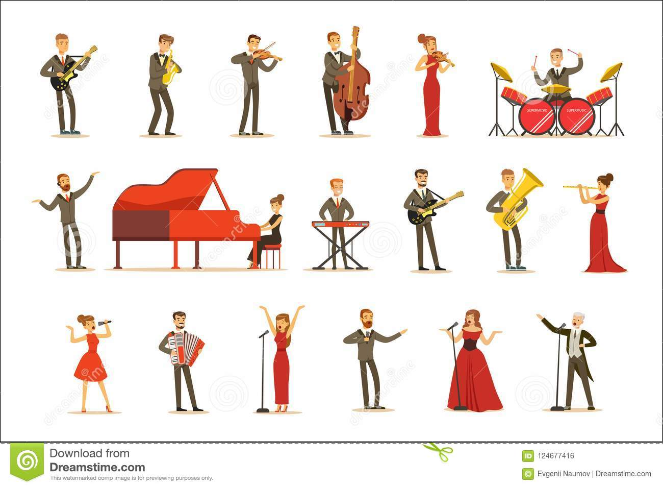 Adult Musicians And Singers Performing A Musical Number On Stage In Music Hall Set Of Cartoon Characters
