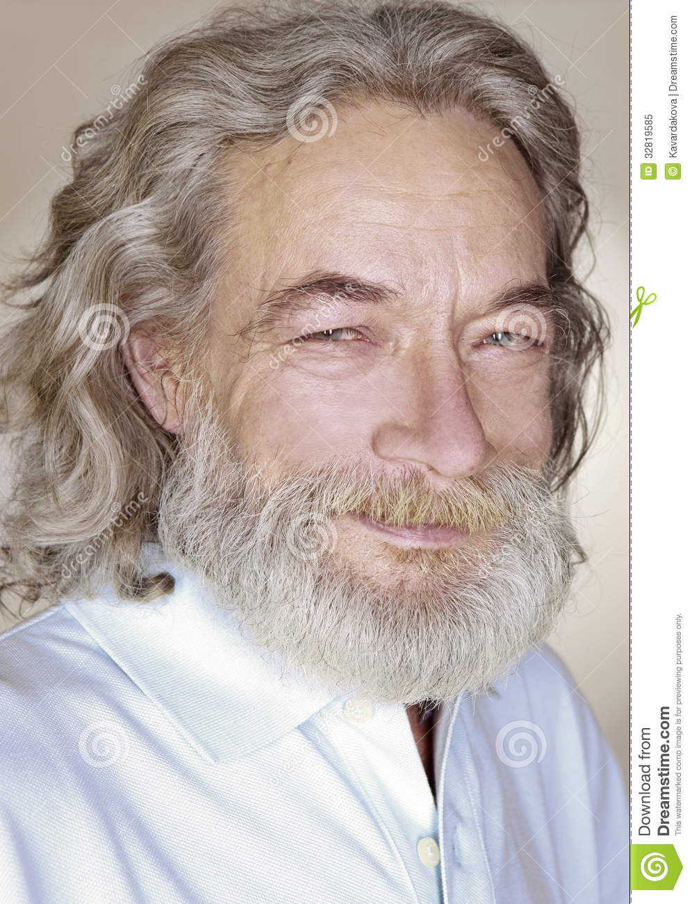 Adult Old Man With Gray Hair Smiles Royalty Free Stock