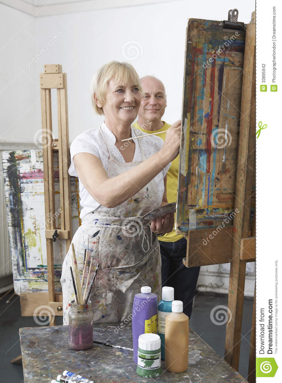 Adult Students In Art Class Stock Photo - Image of happy ...