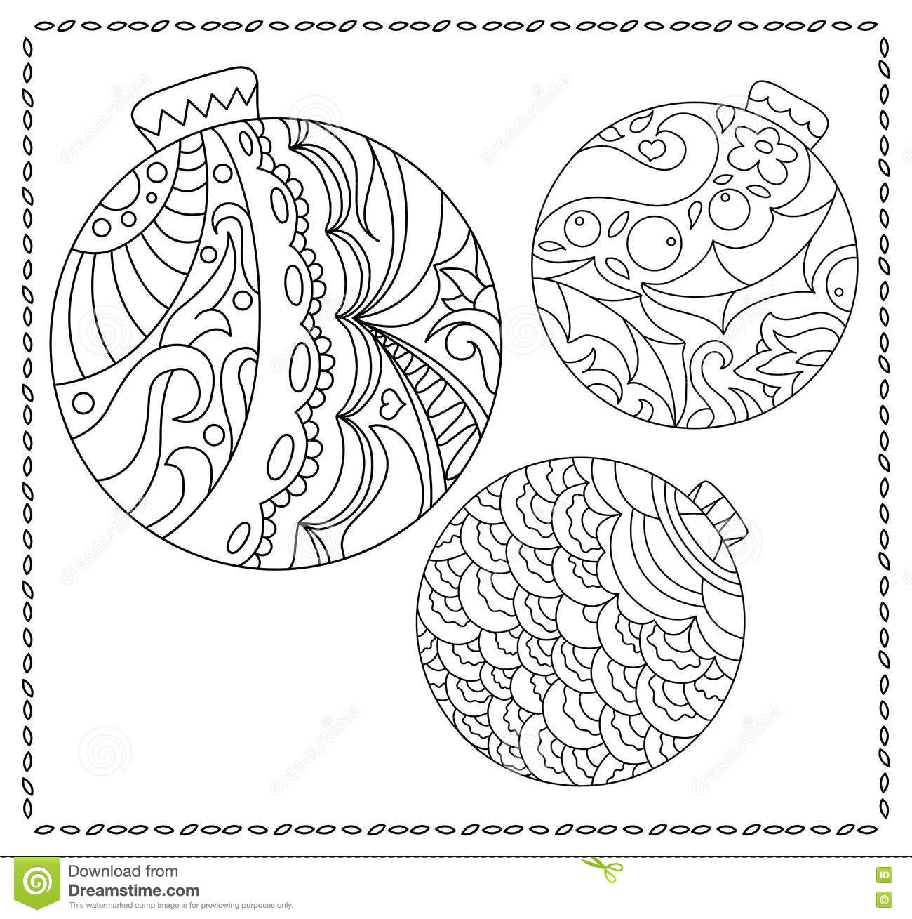 adult or teen coloring page with christmas or new year doodle illustration