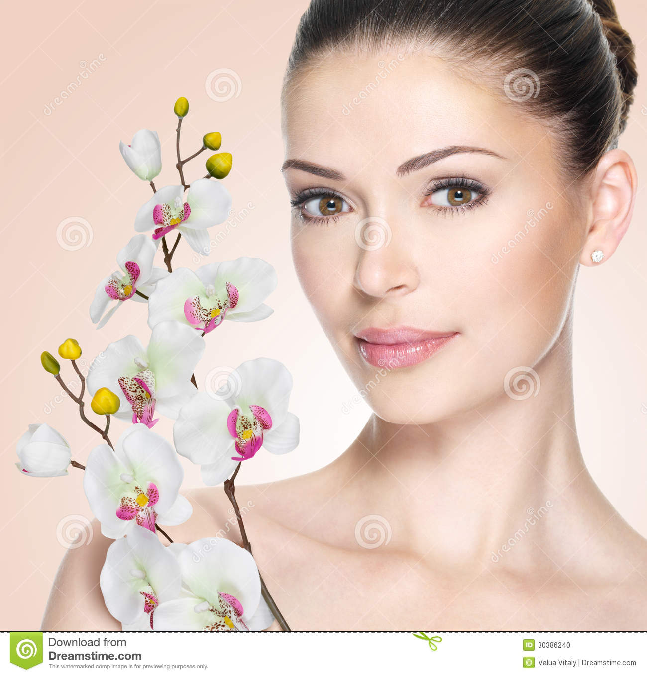 Frangipani spa flowers stock photo image 14654190 - Adult Woman With Beautiful Face And Flowers Stock Photo