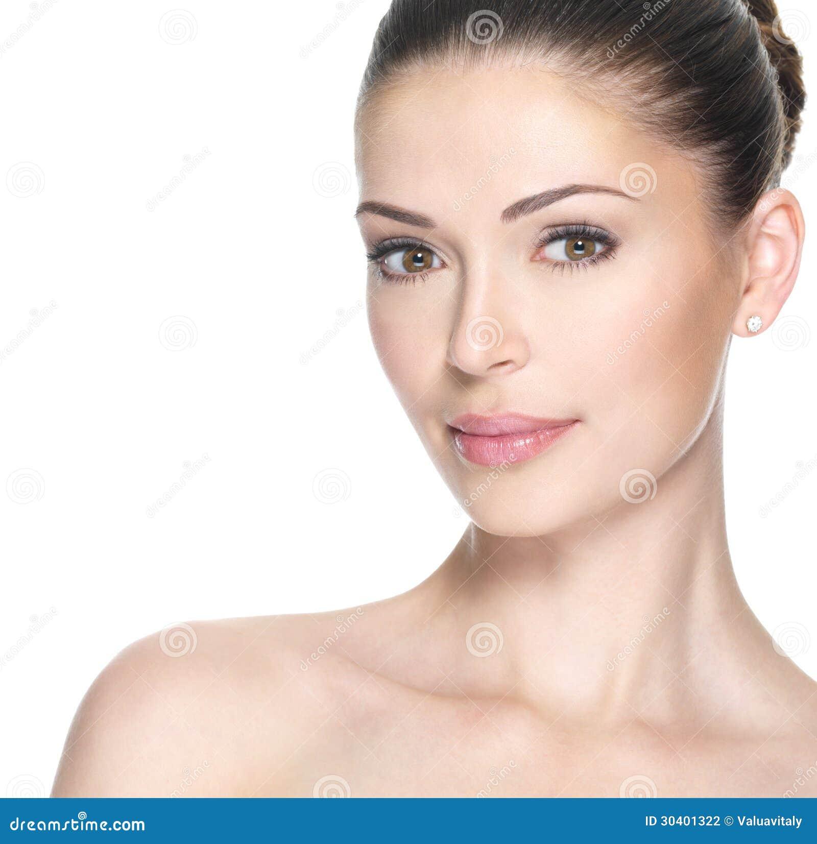 Beautiful Skin Care: Adult Woman With Beautiful Face Stock Photo