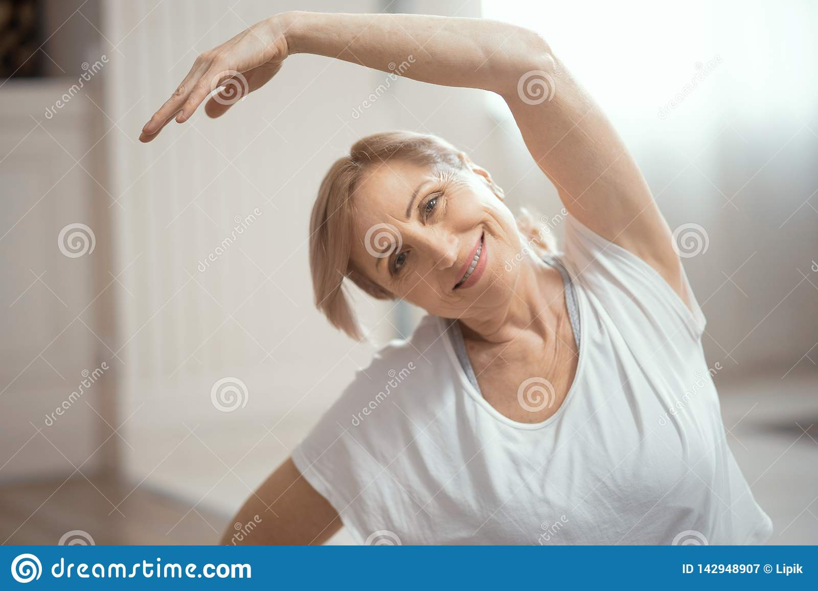 Yoga Classes At Home Beautiful Women Over 50 Years Stock Image Image Of Persistence European 142948907