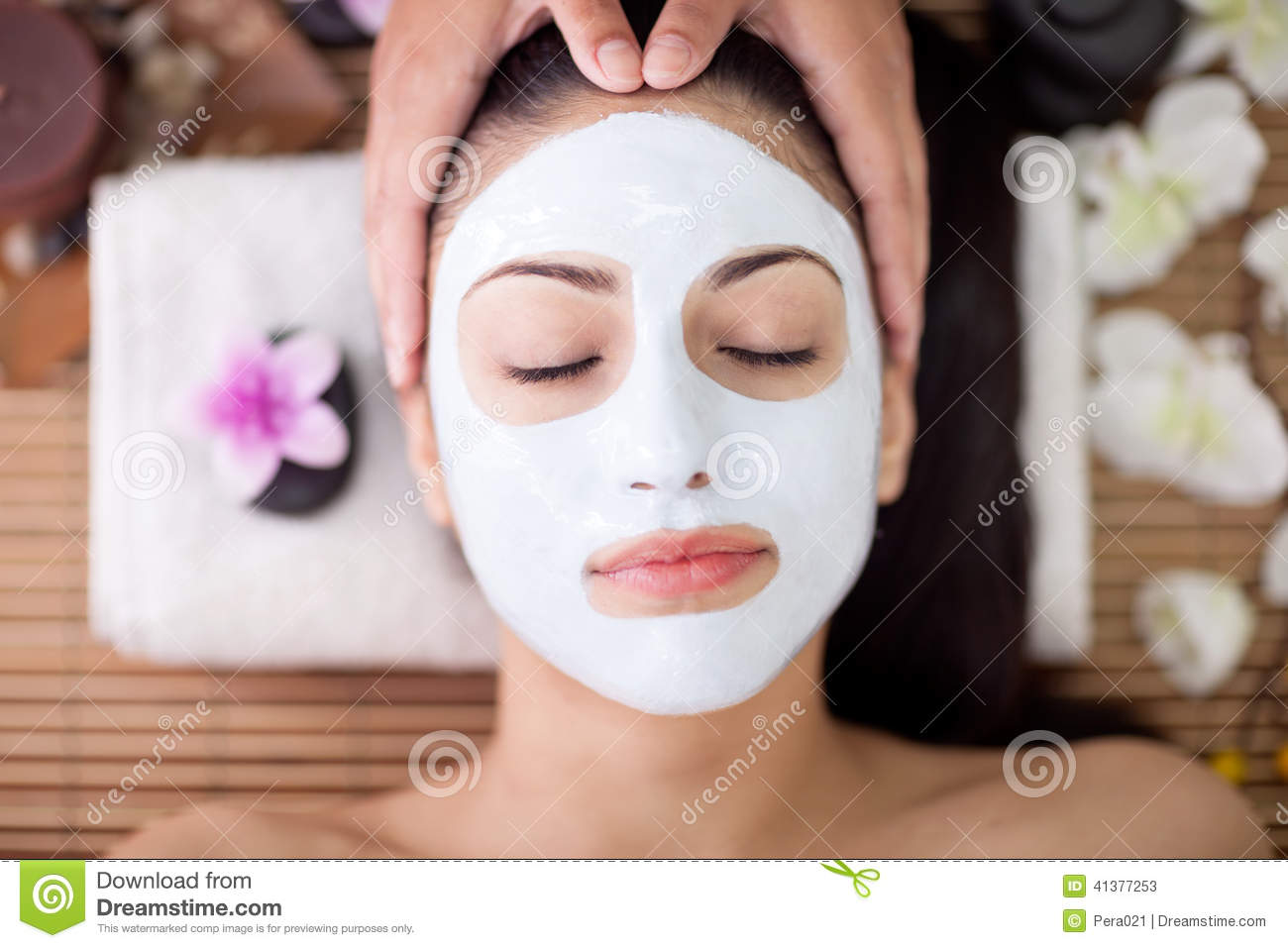Adult woman having beauty treatments in the spa salon for A trial beauty treatment salon