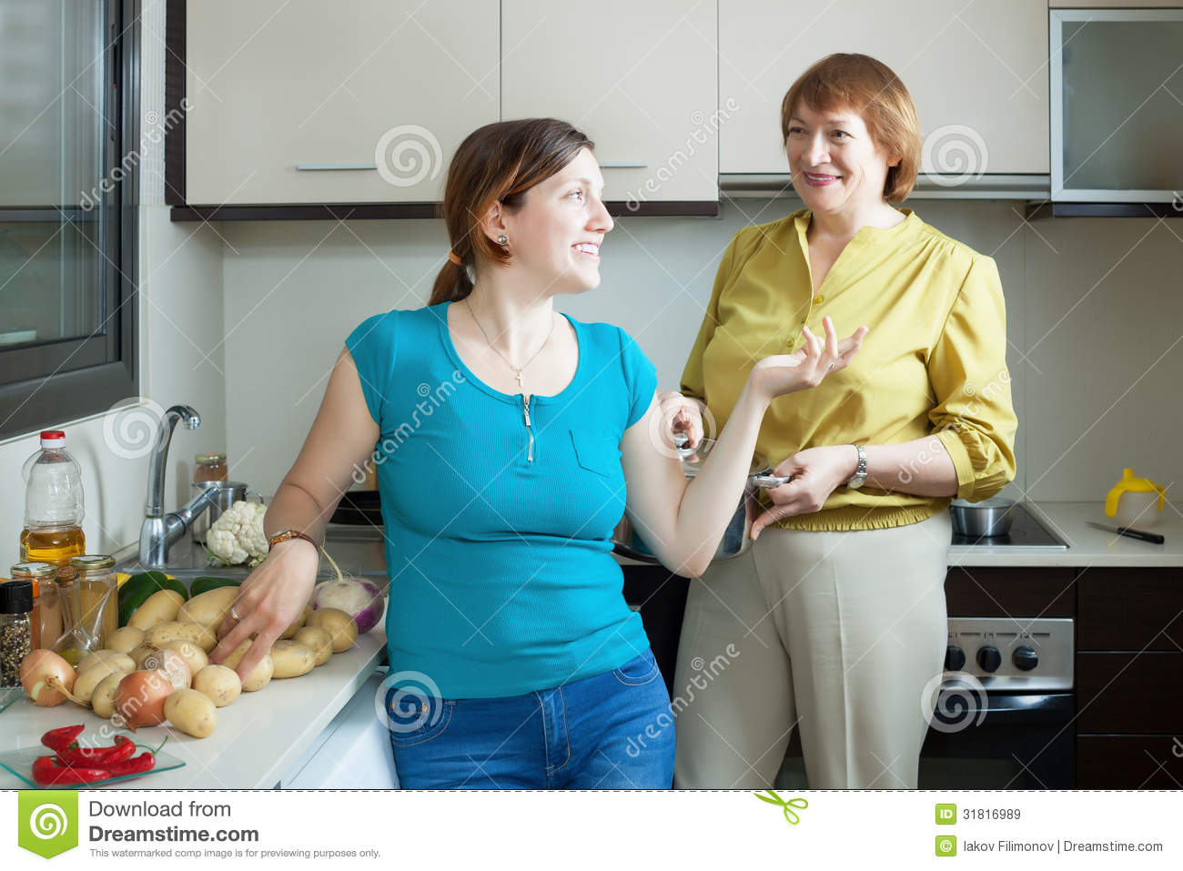 Adult Women Together Cooking In Home Stock Image - Image of interior ...