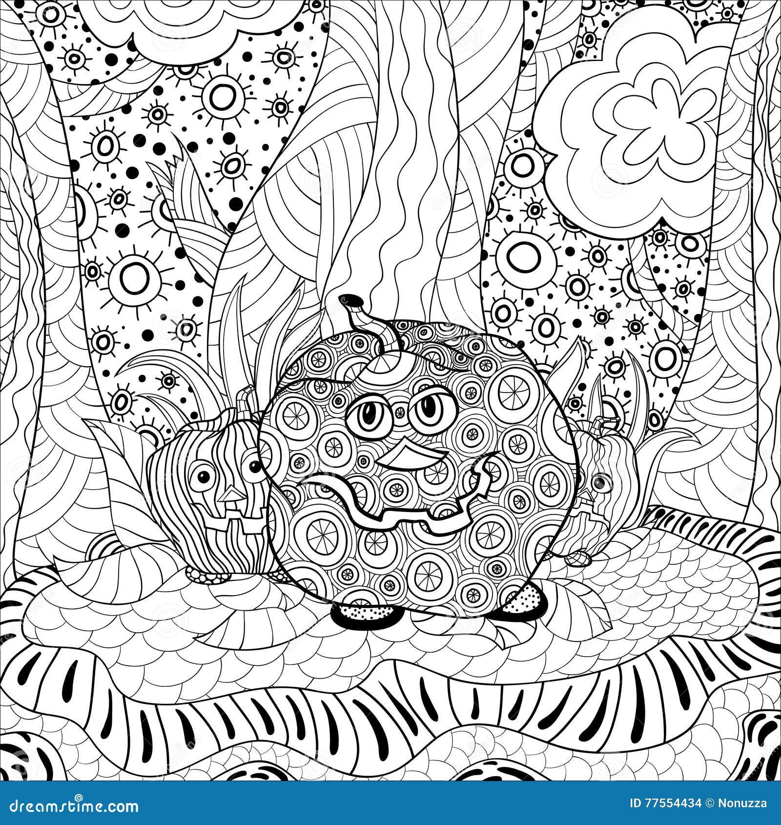 Adulte Halloween De Livre De Coloriage Illustration de Vecteur ...