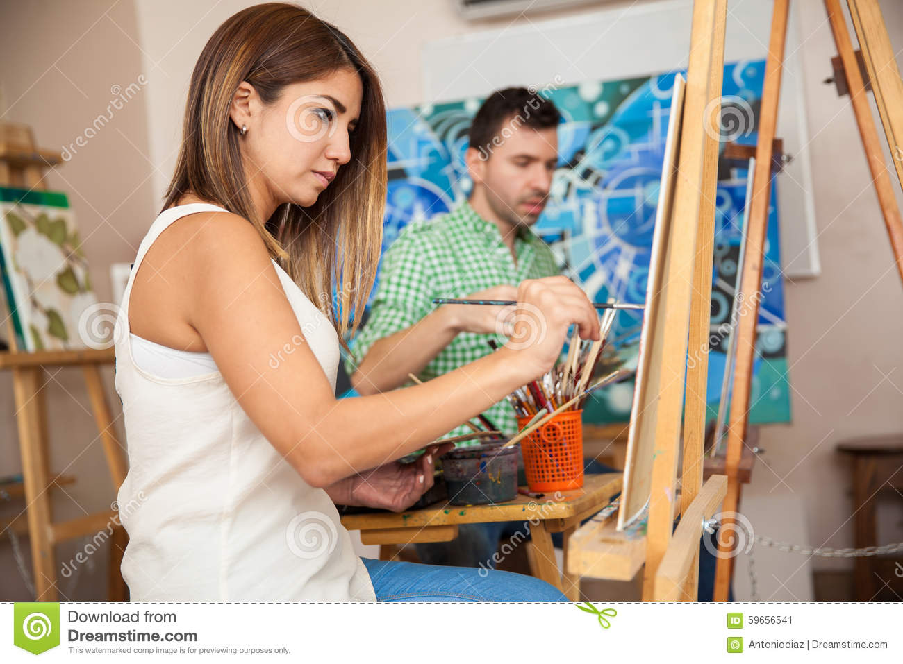 Adults attending art class stock image. Image of artistic ...