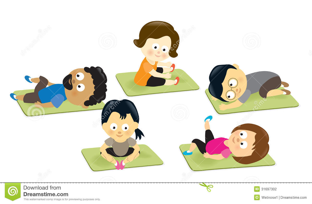 Adults stretching on mats stock vector. Illustration of ...