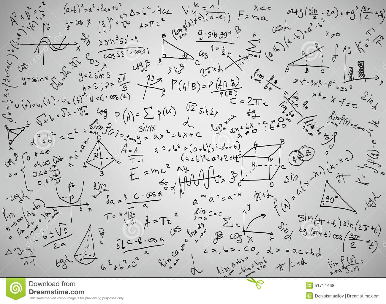 Calculus Law Theory And Mathematical Formula Equation, Doodle Ha ...