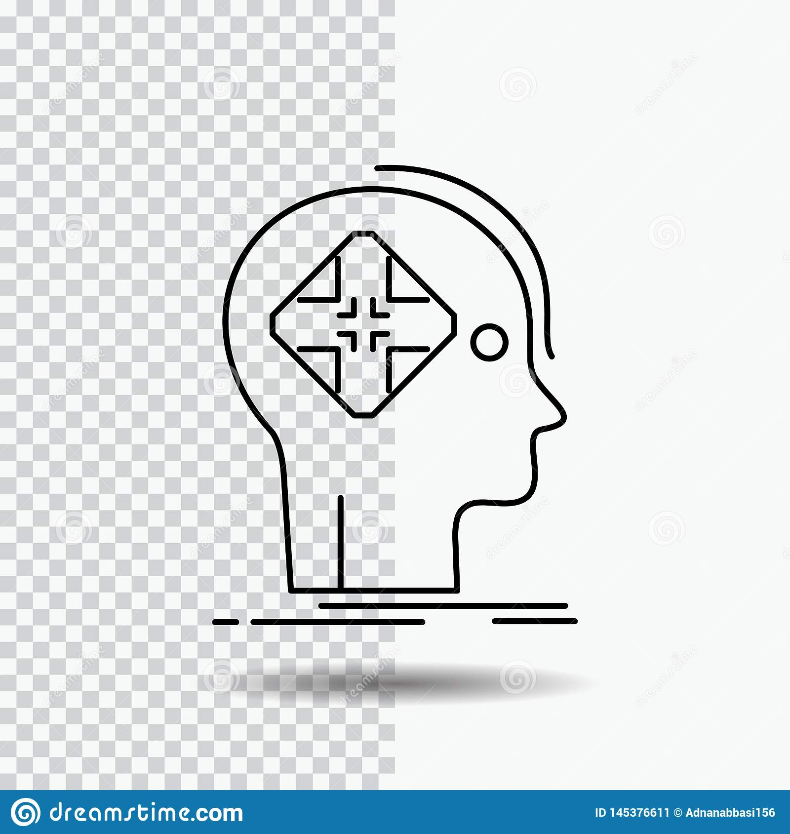 Advanced, cyber, future, human, mind Line Icon on Transparent Background. Black Icon Vector Illustration