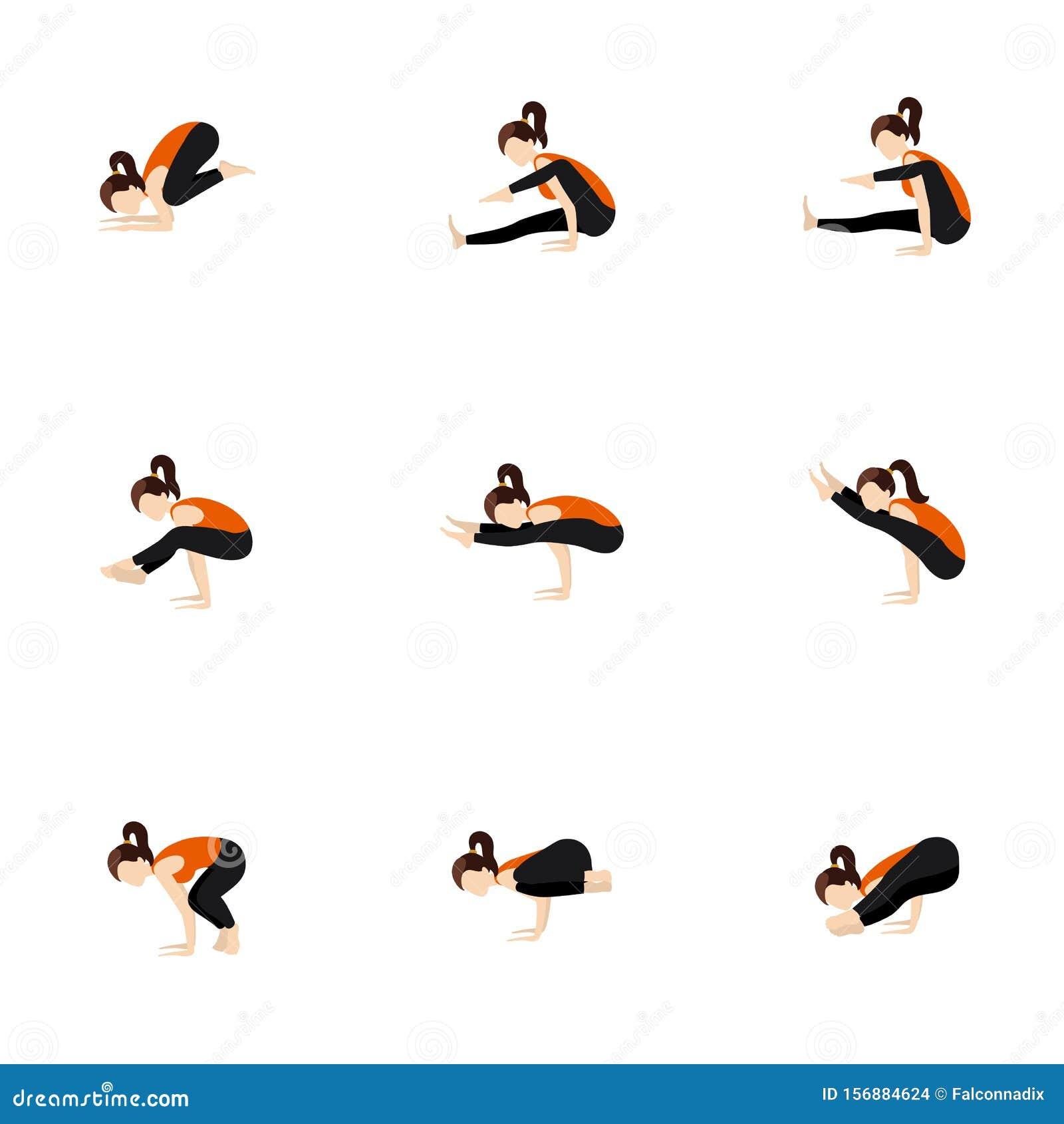 Advanced And Twisted Arm Balances Yoga Poses Set Stock Vector ...