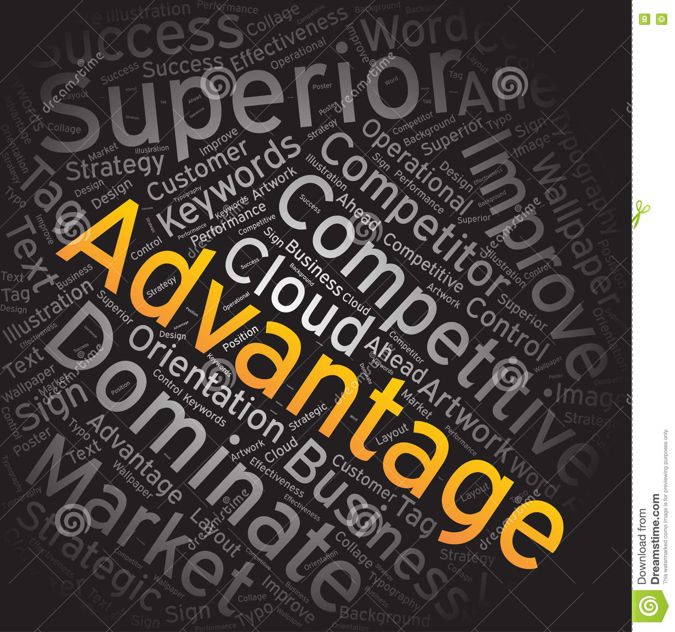 Advantage Word Cloud Art Background Stock Vector