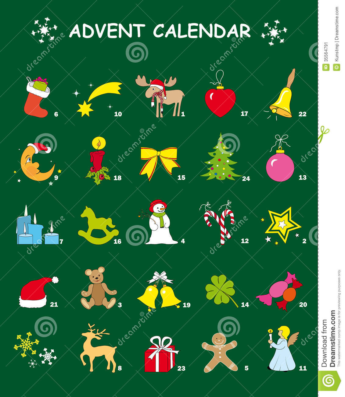 Advent Calendar In Green With 24 Christmas Designs Stock Image ...