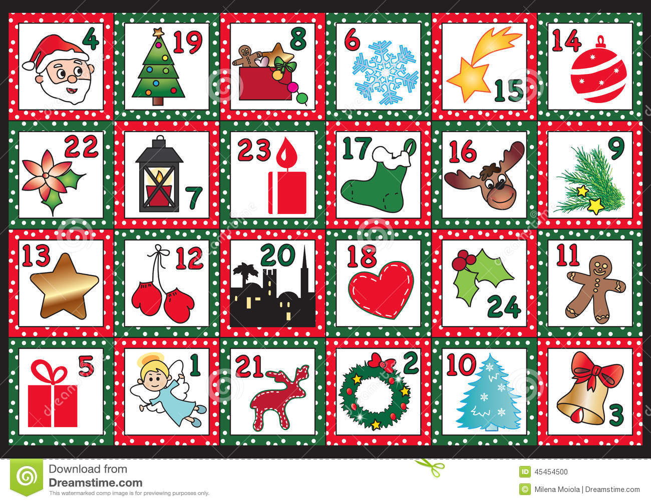 Christmas Calendar Pictures : Advent calendar stock illustration image of comet kids