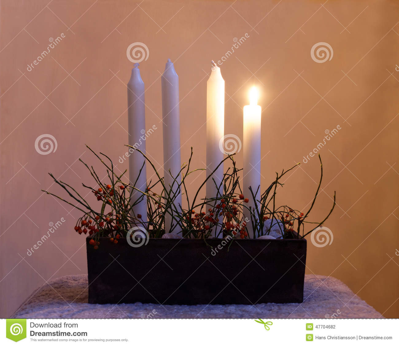Advent Candle Holder With Four Candles Stock Photo Image Of Christmas Holiday 47704682