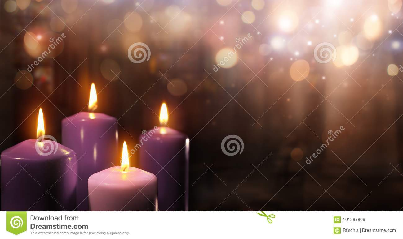 Advent Candles In Church - Three Purple And One Pink
