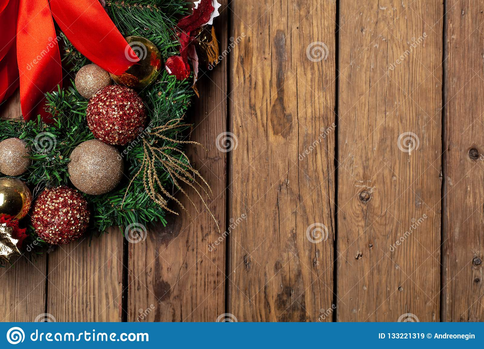Advent Christmas Wreath On Wooden Door Or Wall Decoration Stock