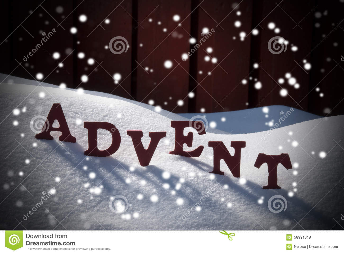 Advent Mean Christmas Time On Snow With Snowflakes Stock Photo ...