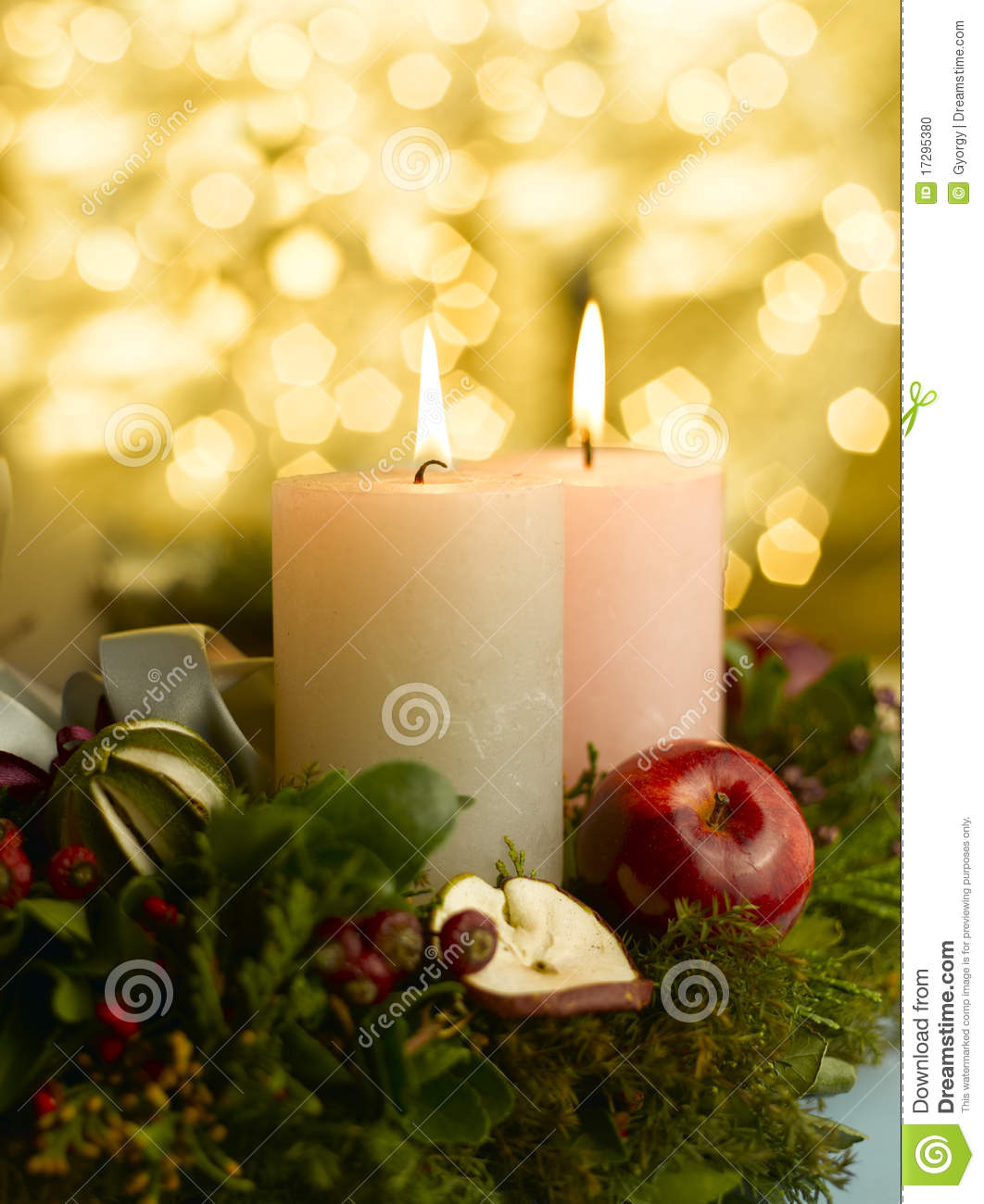 Advent Candles Wreath Advent wreath with a lighted