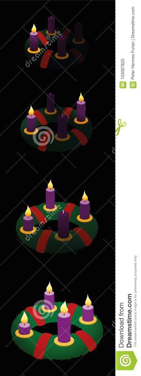 advent wreath one two three four candles stock vector. Black Bedroom Furniture Sets. Home Design Ideas