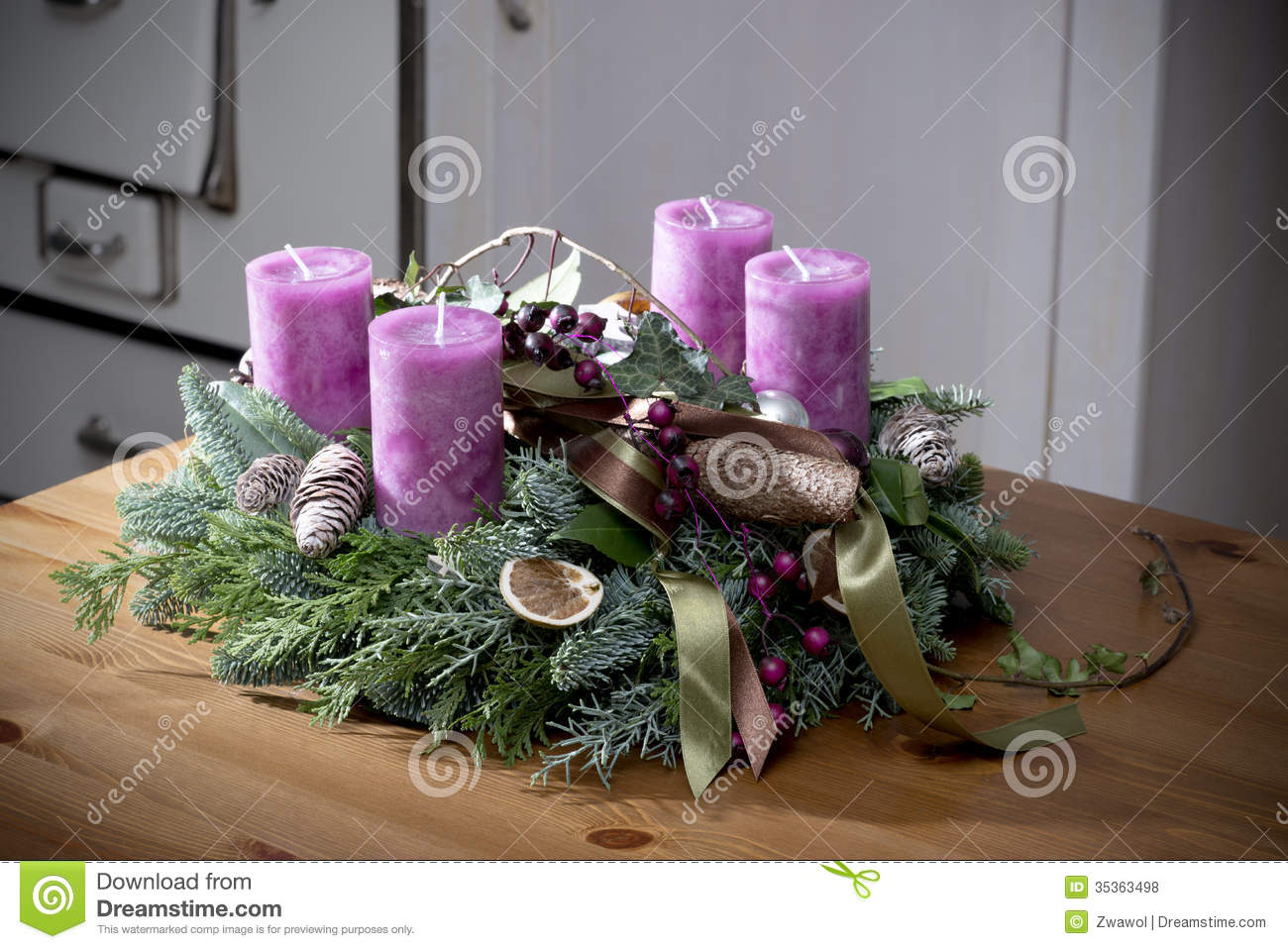 Advent Wreath Decorations Advent Wreath With Purple Candles Royalty Free Stock Photos