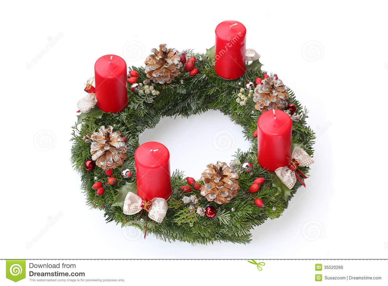 Christmas Decoration Ideas 2013 Advent Wreath With Red Candles Natural Decoration Stock