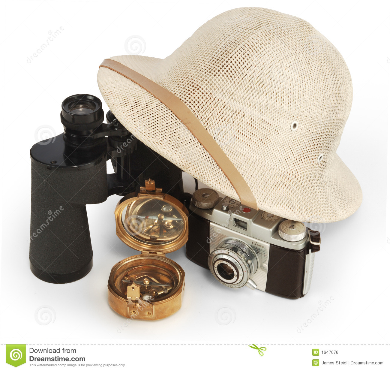 15bd469b683e2 Safari pith helmet leaning against binoculars isolated on white background  with brass compass and vintage view camera