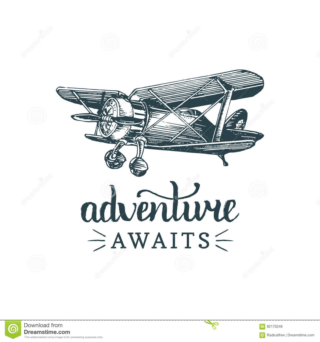 adventure awaits motivational quote vintage retro airplane logo