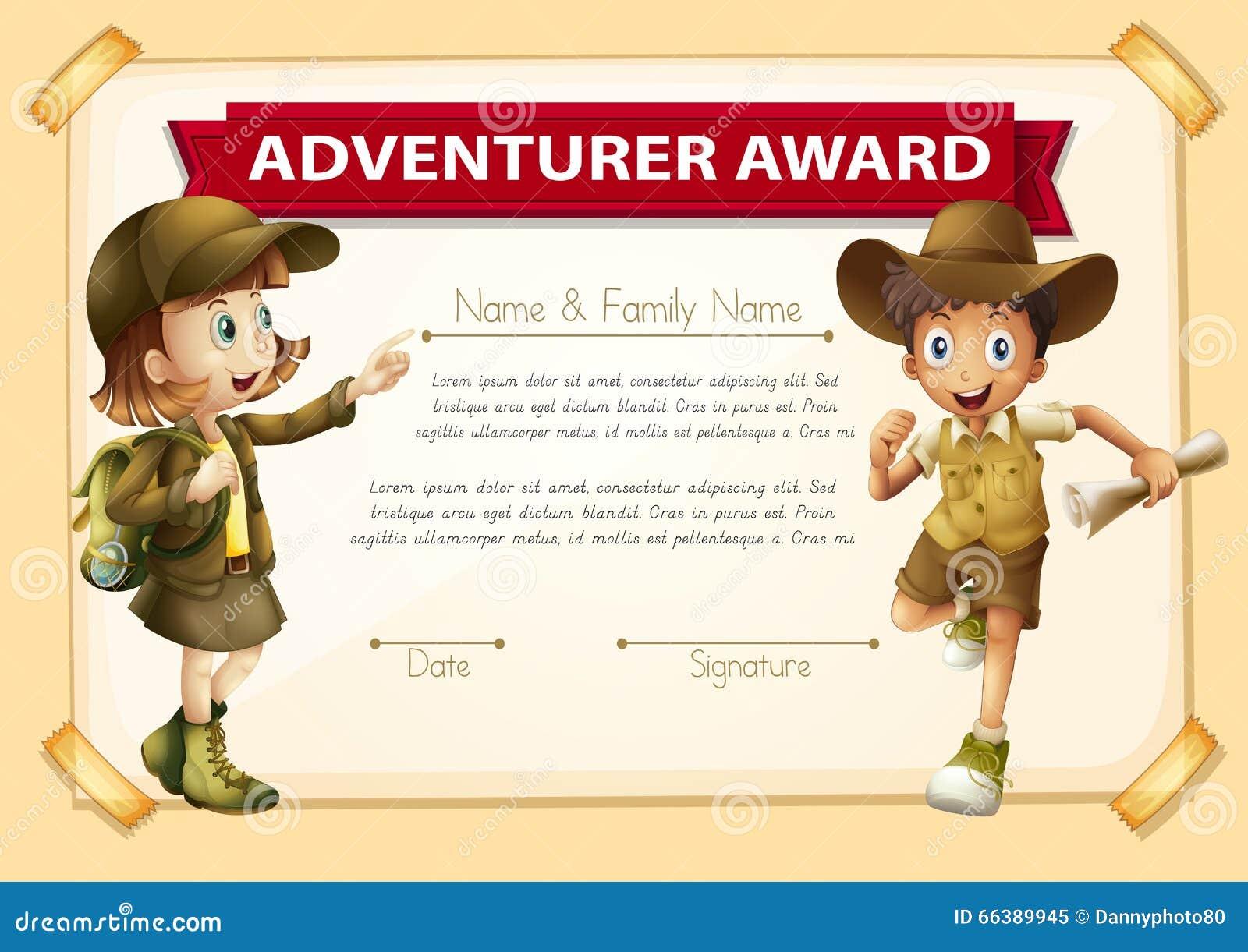adventure award with two children background stock vector illustration of kids clip 66389945. Black Bedroom Furniture Sets. Home Design Ideas
