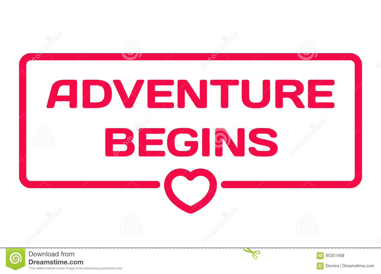 Adventure Begins Flat Icon. Wedding Dialog Bubble Stamp With Heart ...