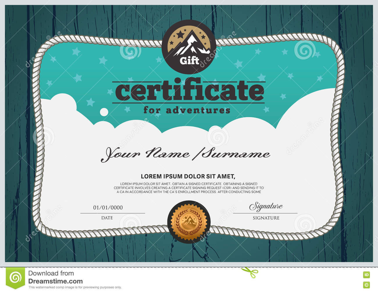 Adventure Certificate Design Template Certificate For Family Stock