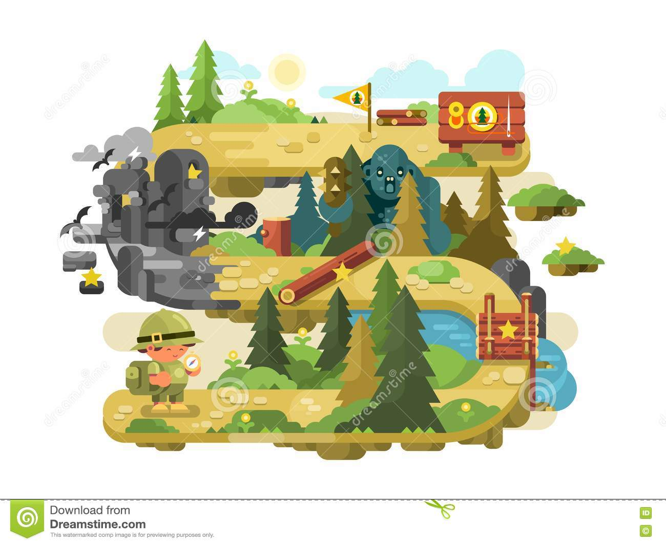 Adventure On A Forest Trail Flat Design Stock Vector