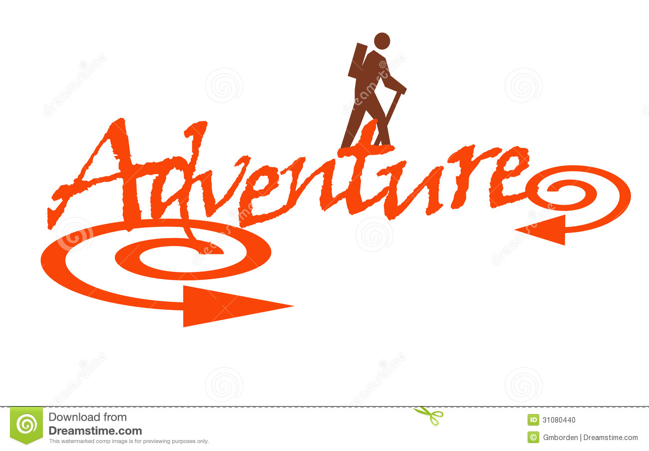 Illustration of the word adventure with a person hiking.